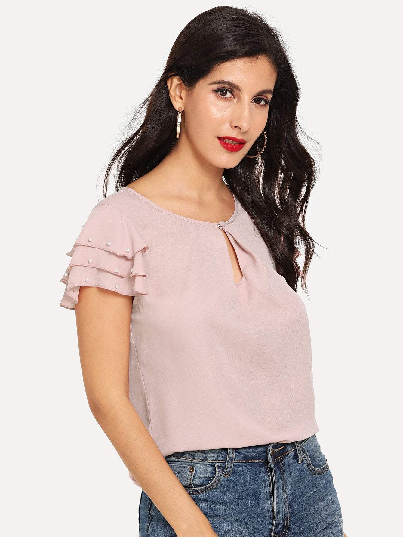 Pearls Beaded Sleeve Top - LoveSylvester