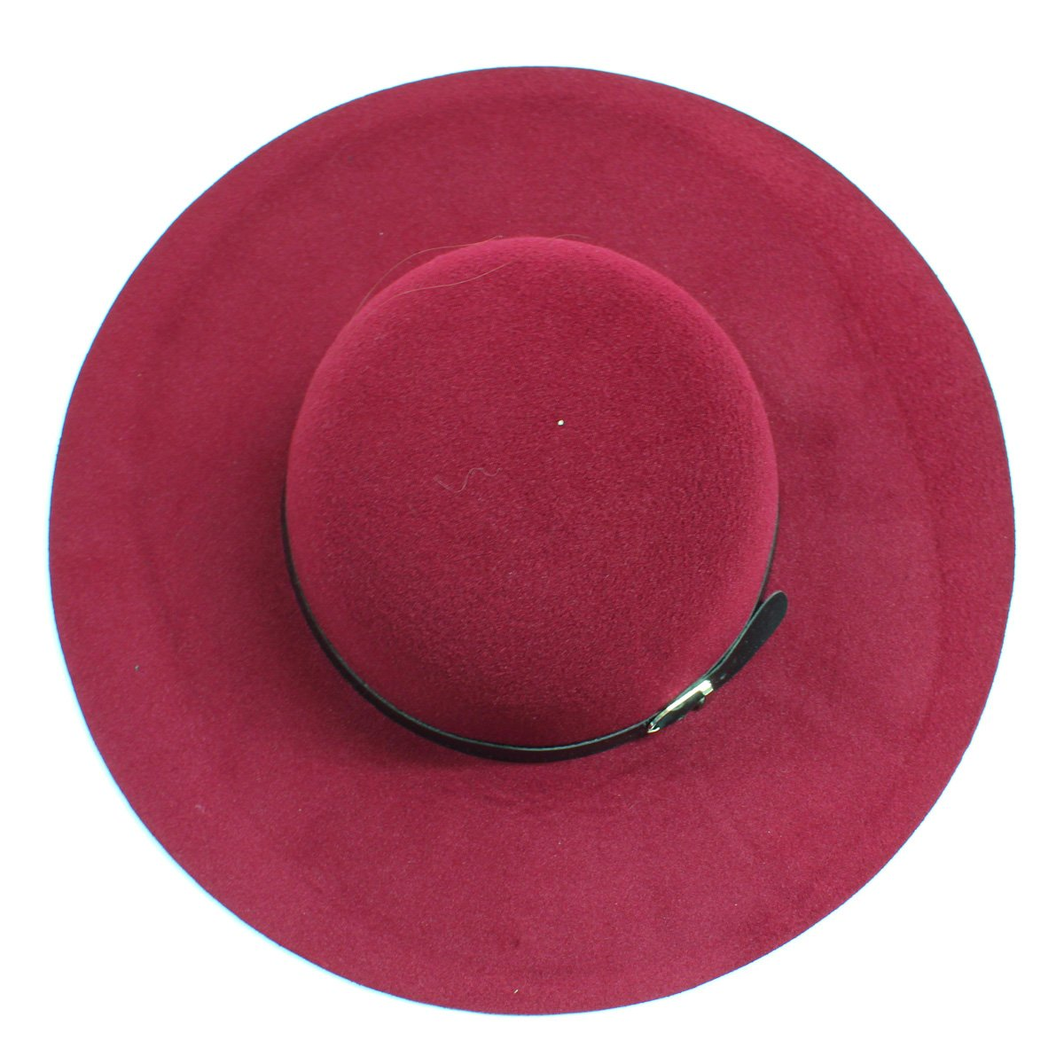 Womens Wide Brim Floppy Felt Hat with Buckle - LoveSylvester
