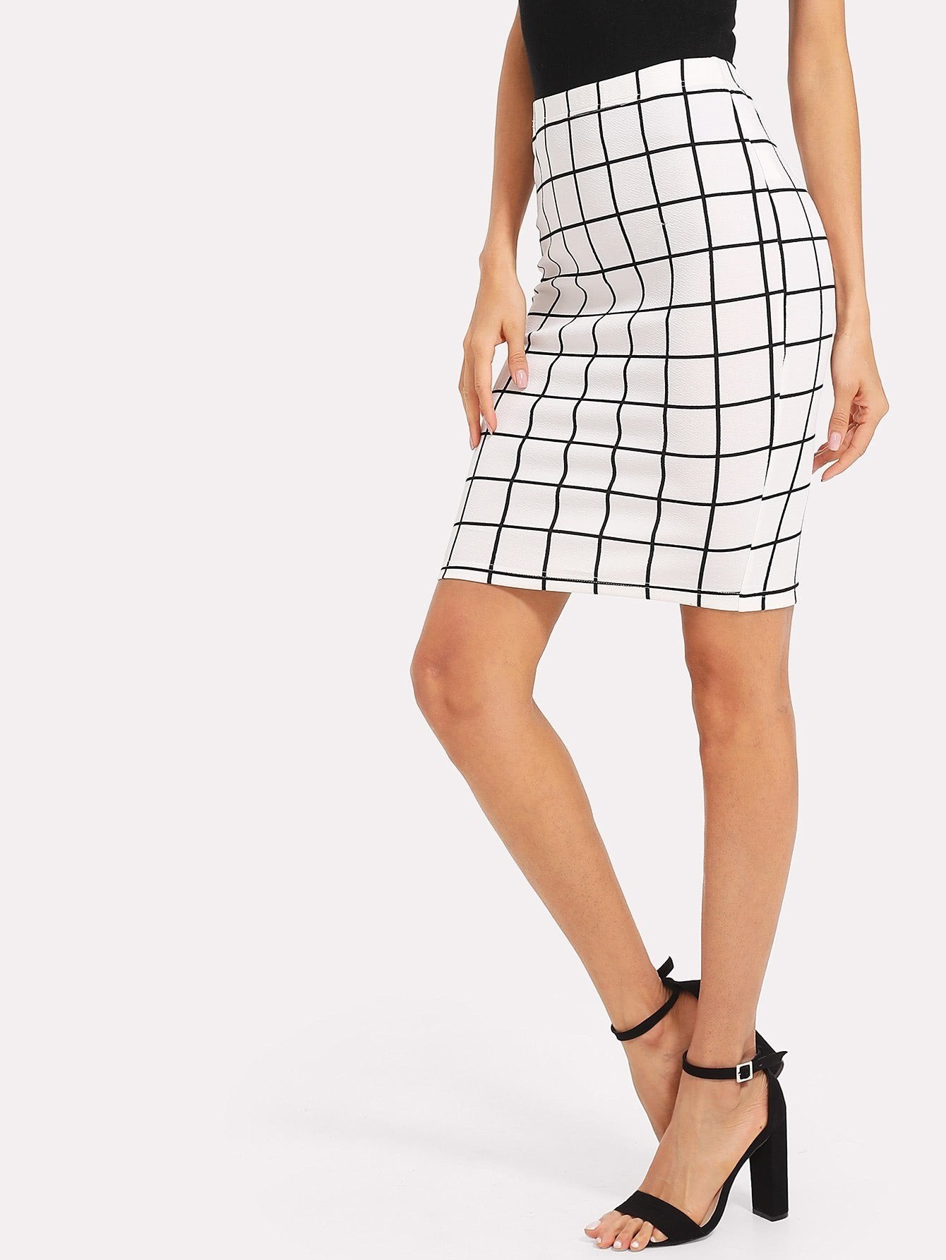 Slit Back Grid Pencil Skirt - LoveSylvester