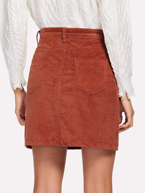 Pocket Front Corduroy Skirt - LoveSylvester