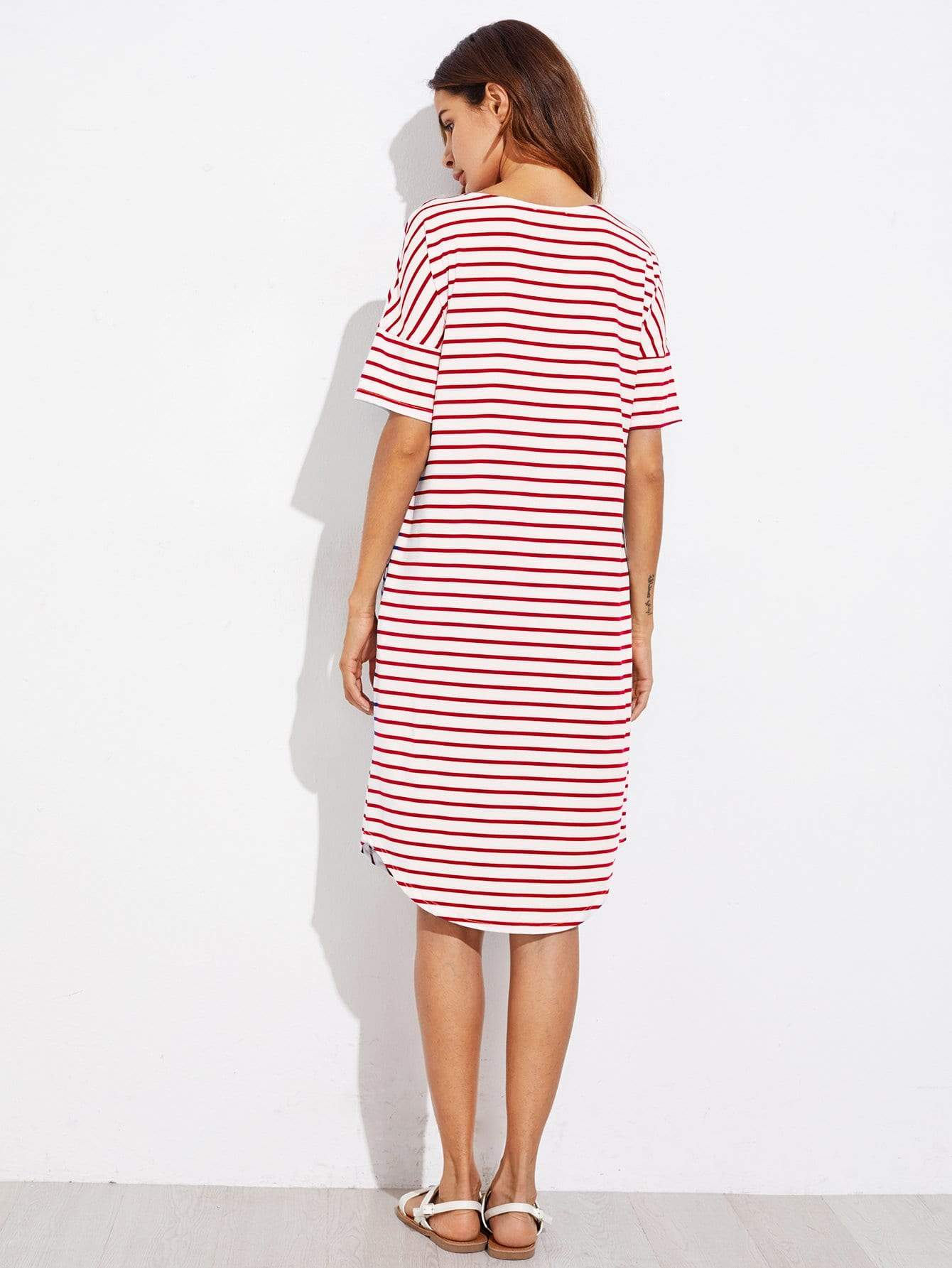 Red Striped Tee Dress - LoveSylvester
