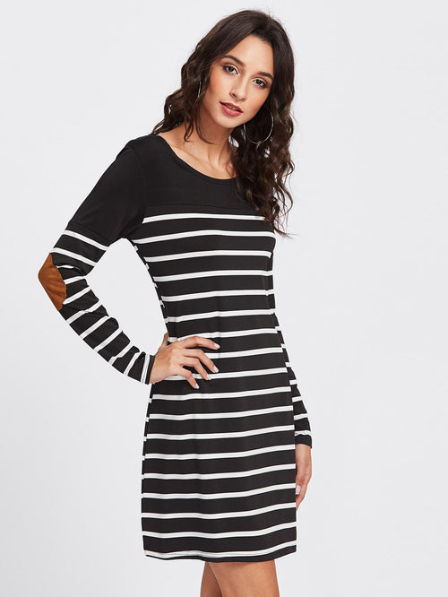 Elbow Patch Striped Dress - LoveSylvester