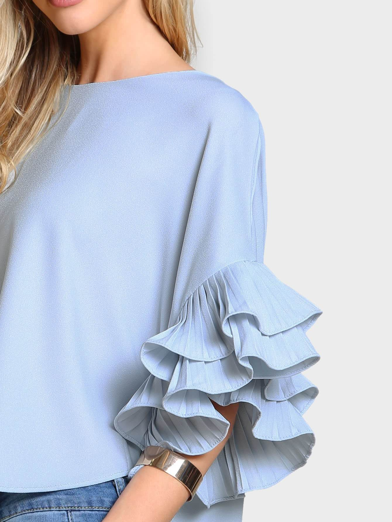 Pleated Ruffle Dolphin Top - LoveSylvester