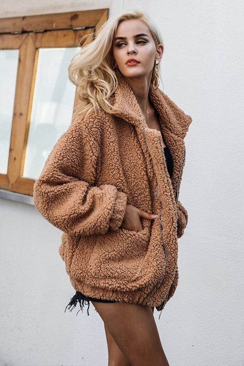 Women - Apparel - Outerwear - Coats - Faux Lambswool Oversize Jacket