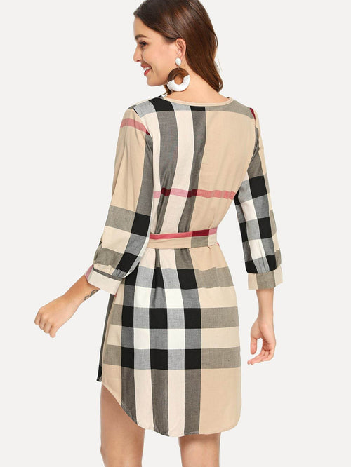 Plaid V Dress - LoveSylvester