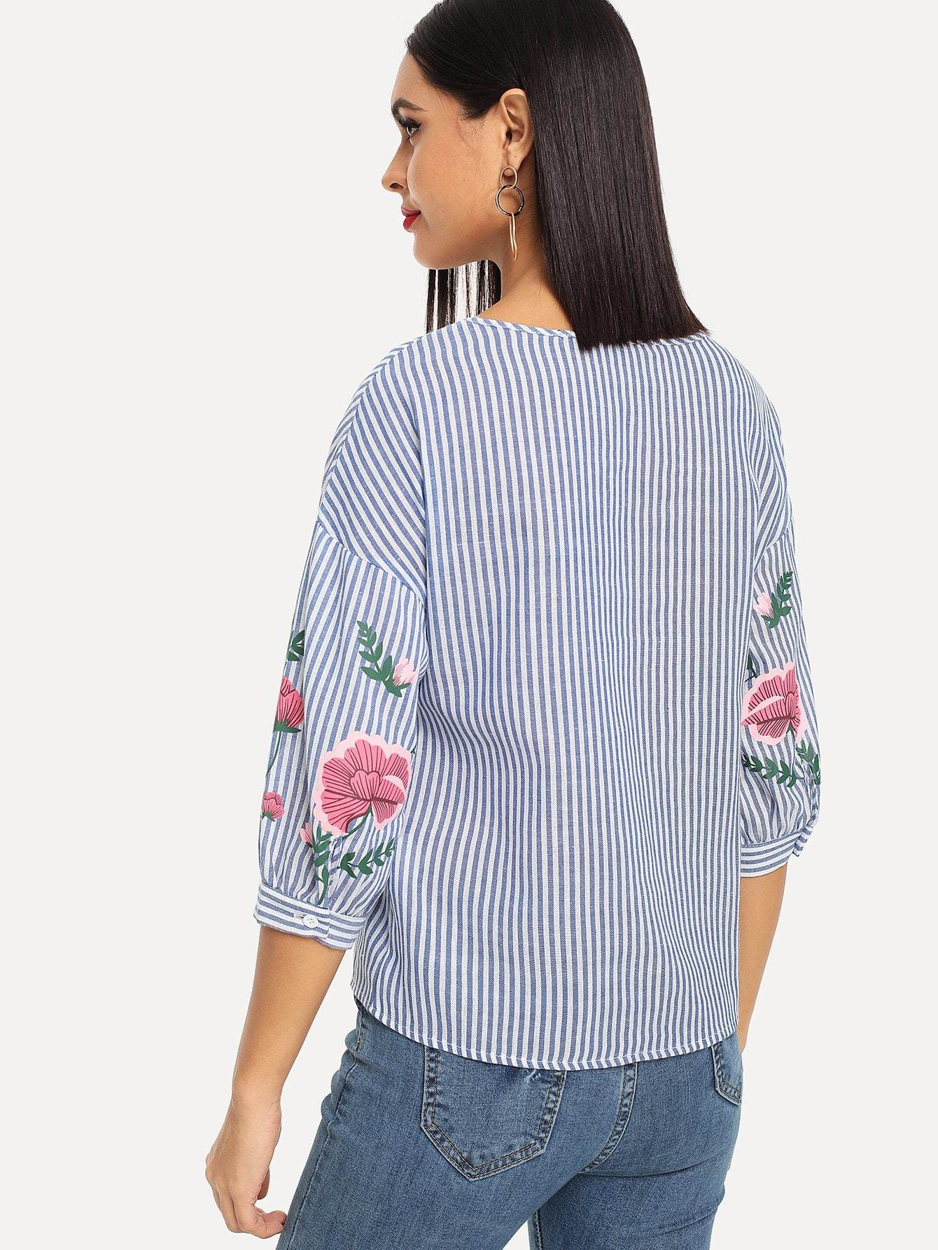 Blue Flower Striped Blouse - LoveSylvester
