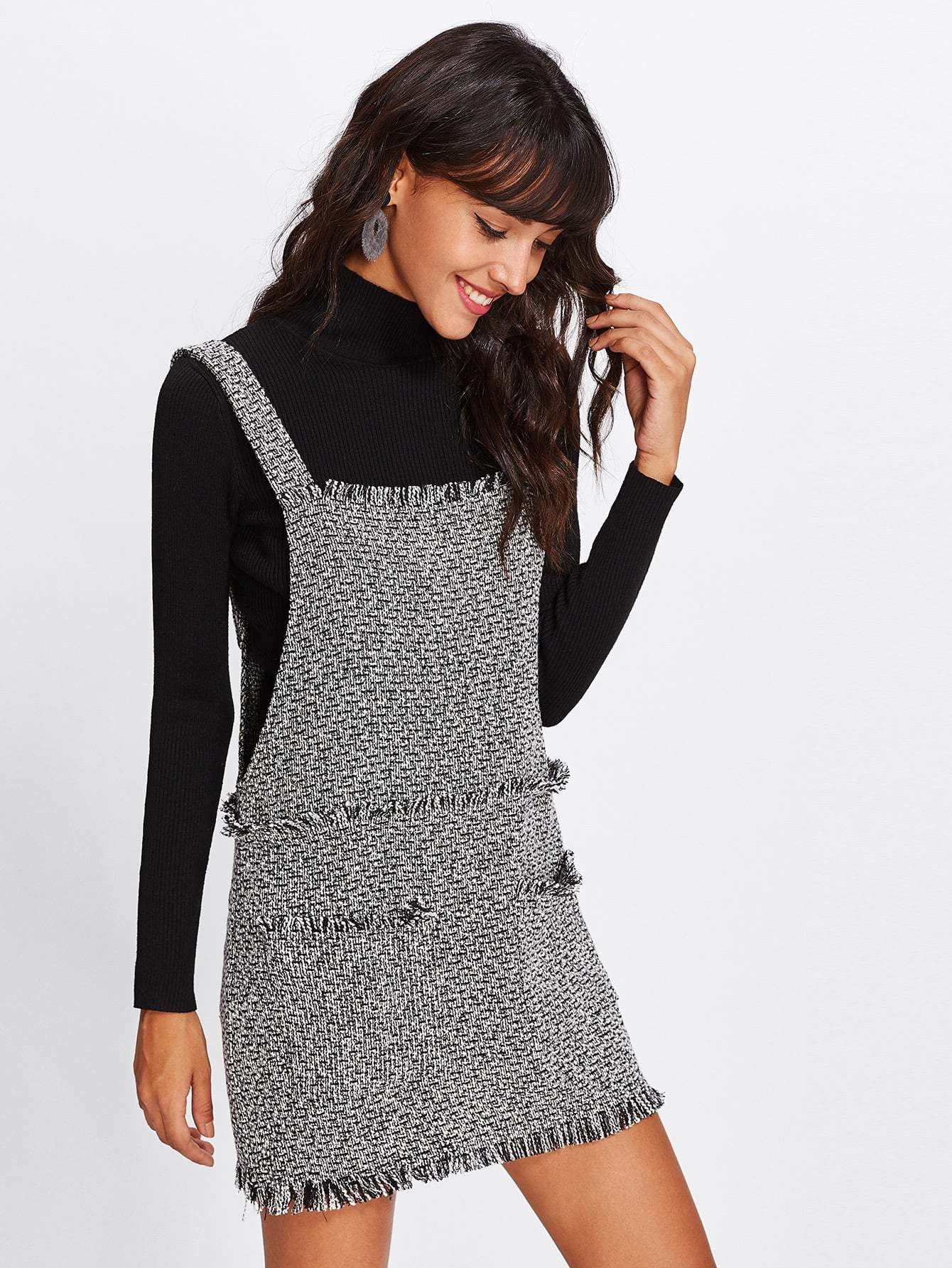 Fringe Detail Tweed Overall Dress - LoveSylvester