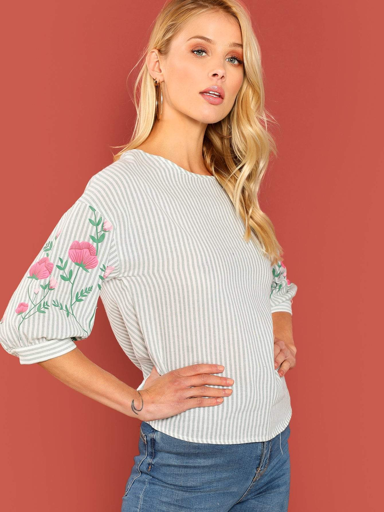 Multicolored Flower Striped Blouse - LoveSylvester