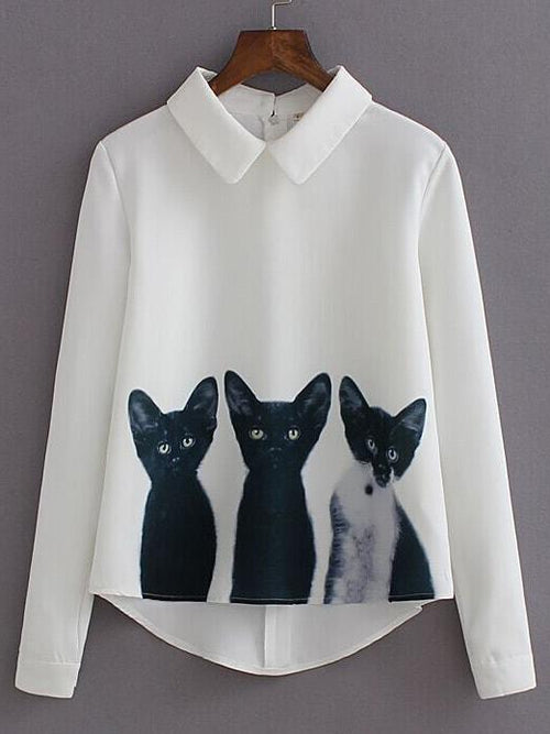 Cats Zipper Back Blouse - LoveSylvester