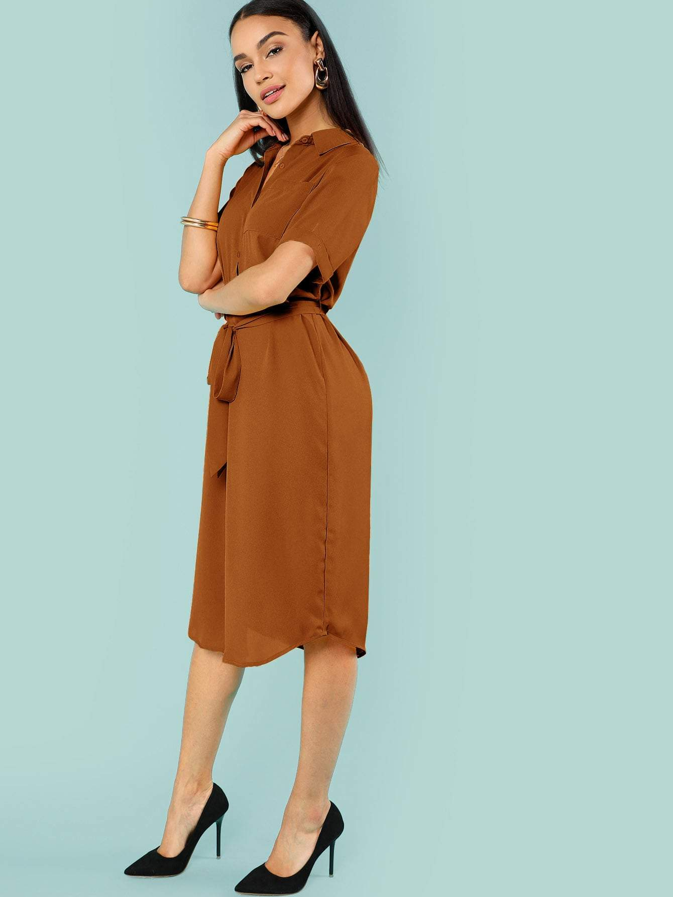 Brown Belted Shirt Dress - LoveSylvester