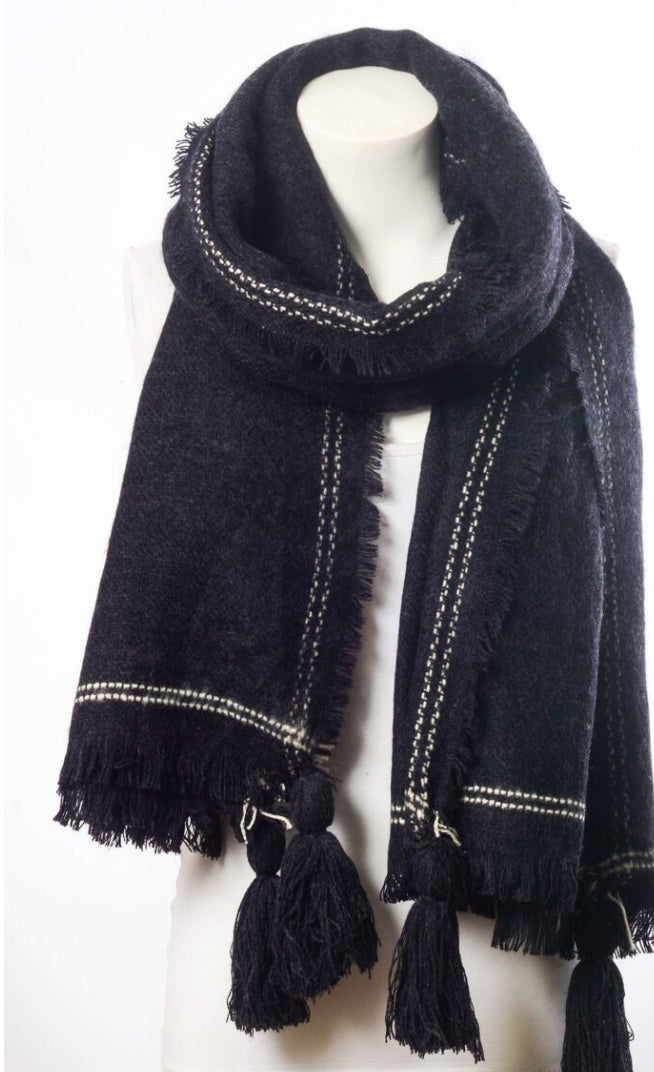 Black Frayed Blanket Scarf - LoveSylvester