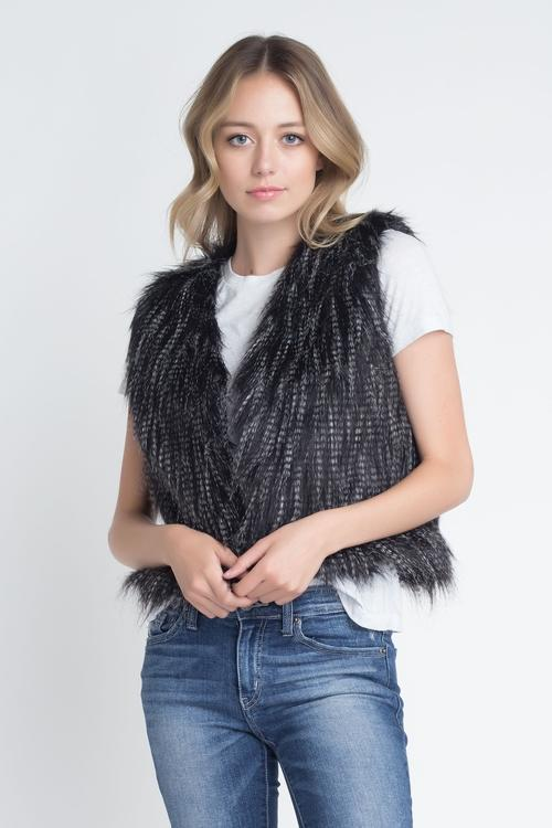 Black Faux Fur Vest - LoveSylvester