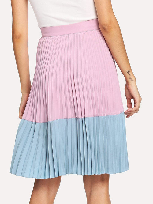 Two Tone Pleated Skirt - LoveSylvester