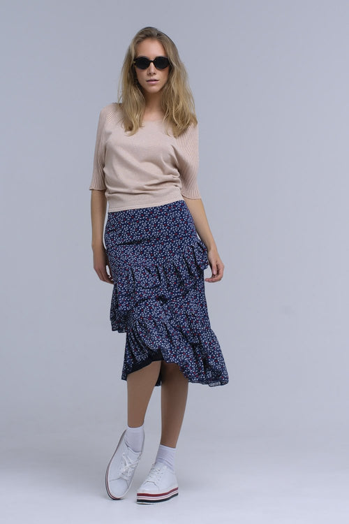 Ruffled Navy Printed Skirt - LoveSylvester
