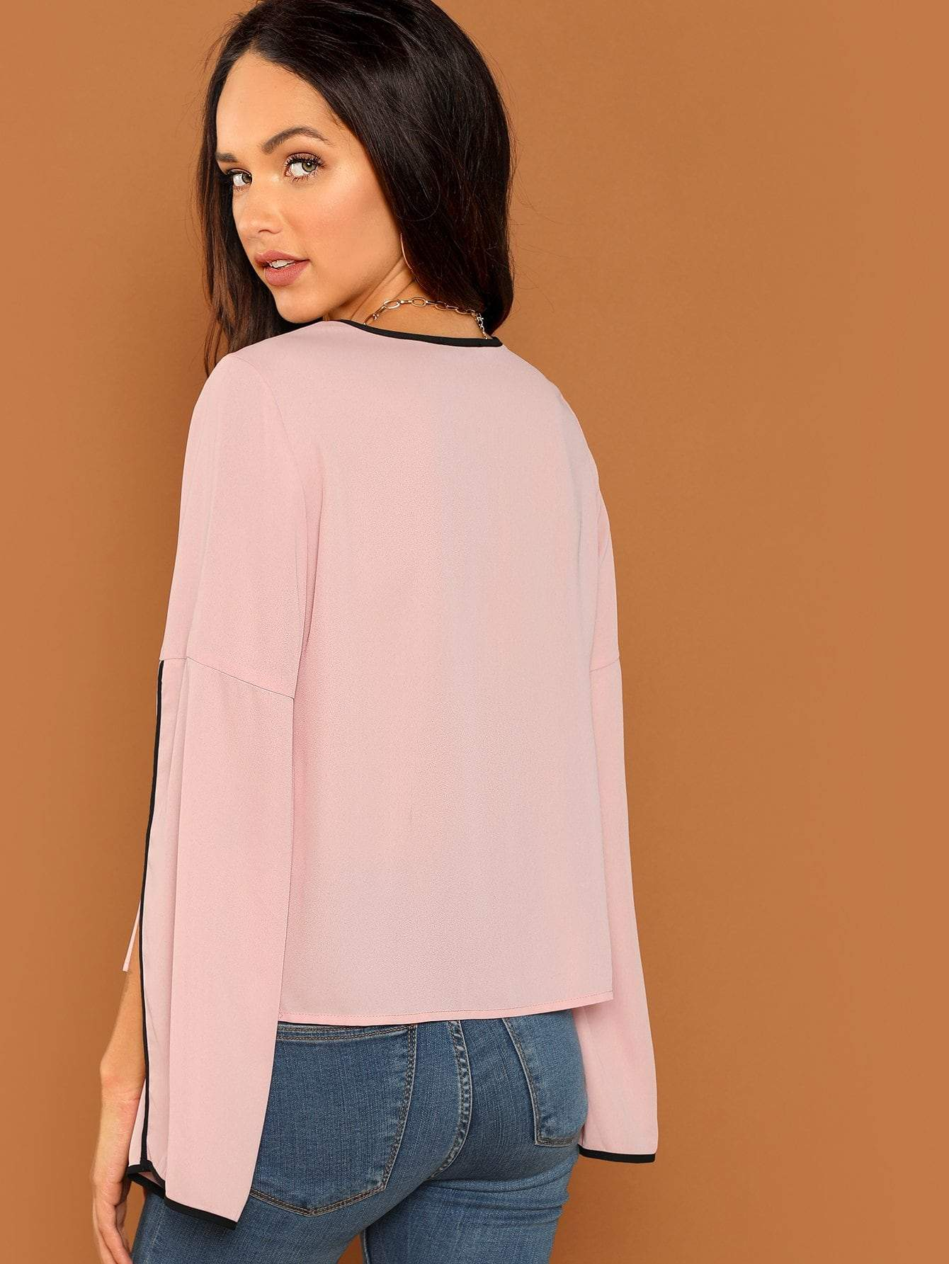 Contrast Bell Sleeve Top - LoveSylvester