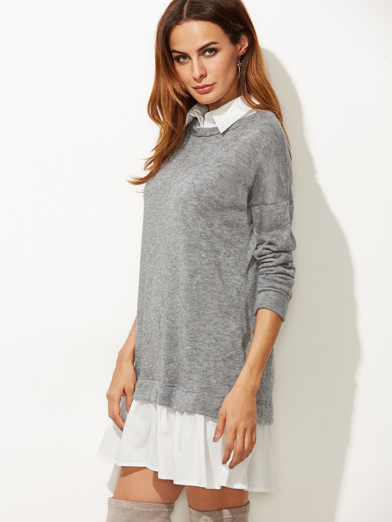 Contrast Collar Sweatshirt Dress - LoveSylvester