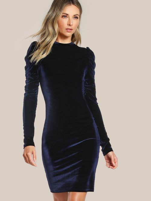 Puffed Velvet Pencil Dress - LoveSylvester