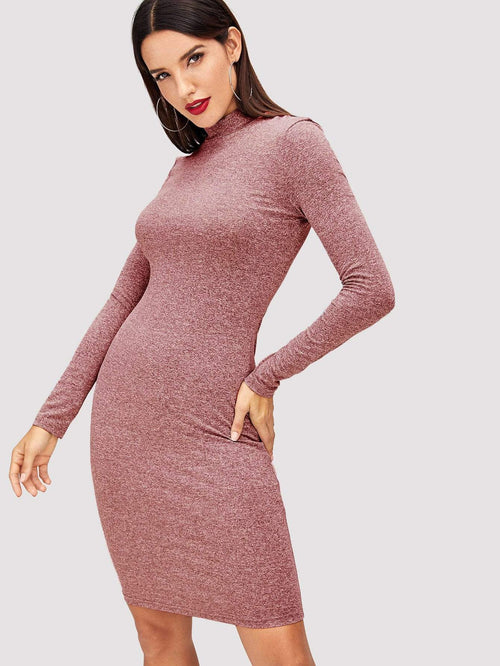 Burgundy Heathered Knit Dress - LoveSylvester