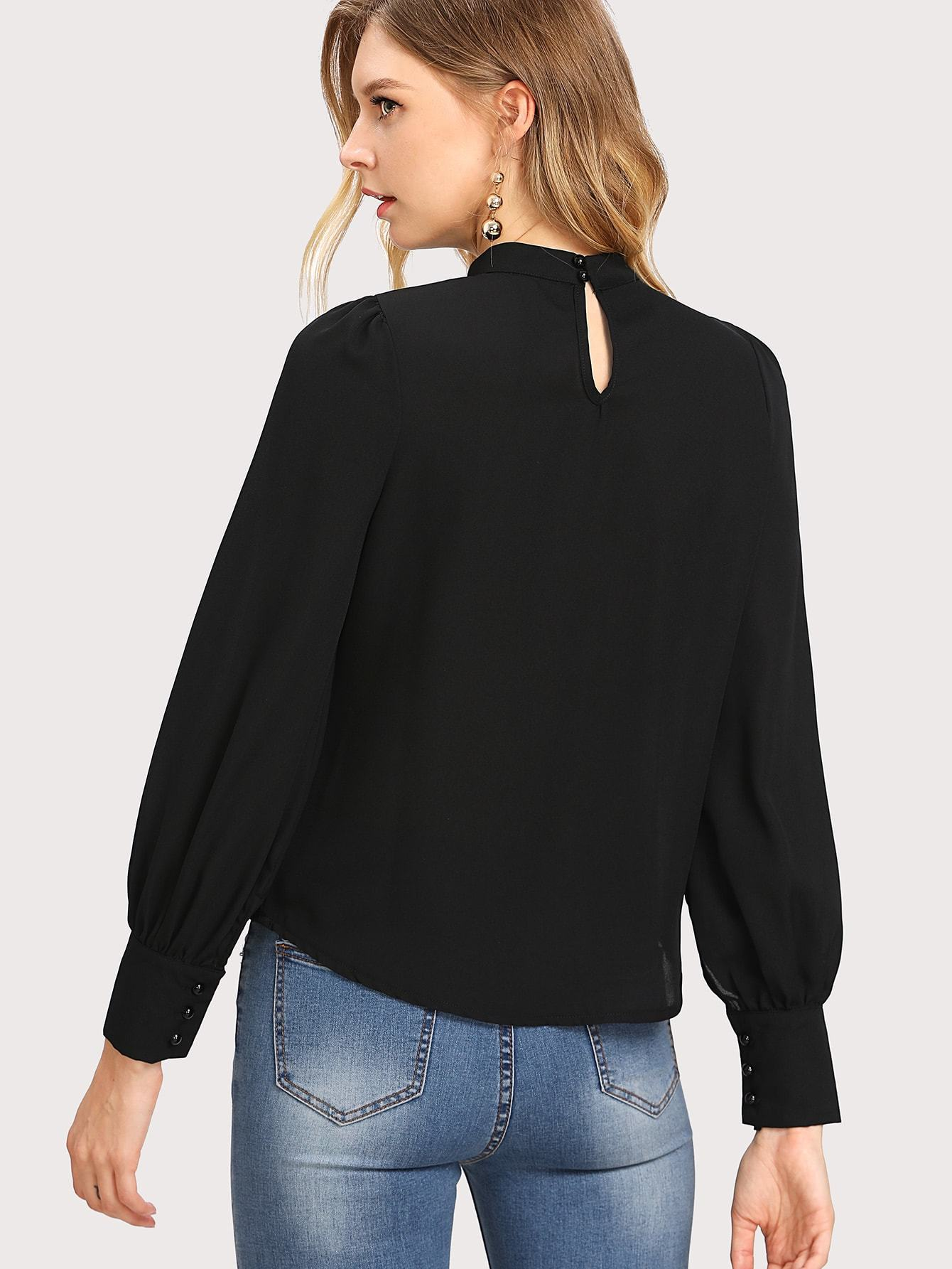 Black Pleated Detail Blouse - LoveSylvester