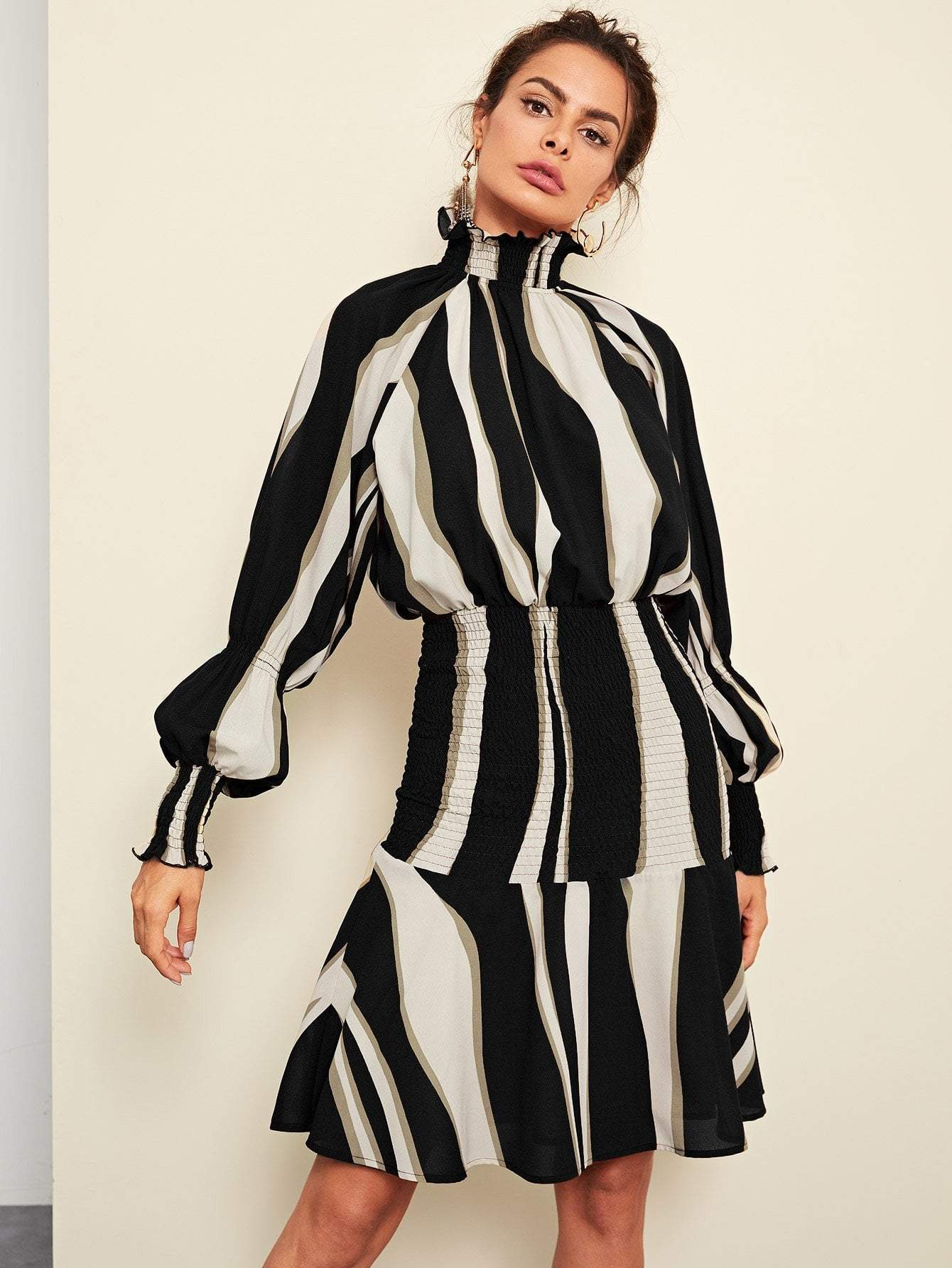 Shirred Panel Striped Dress - LoveSylvester