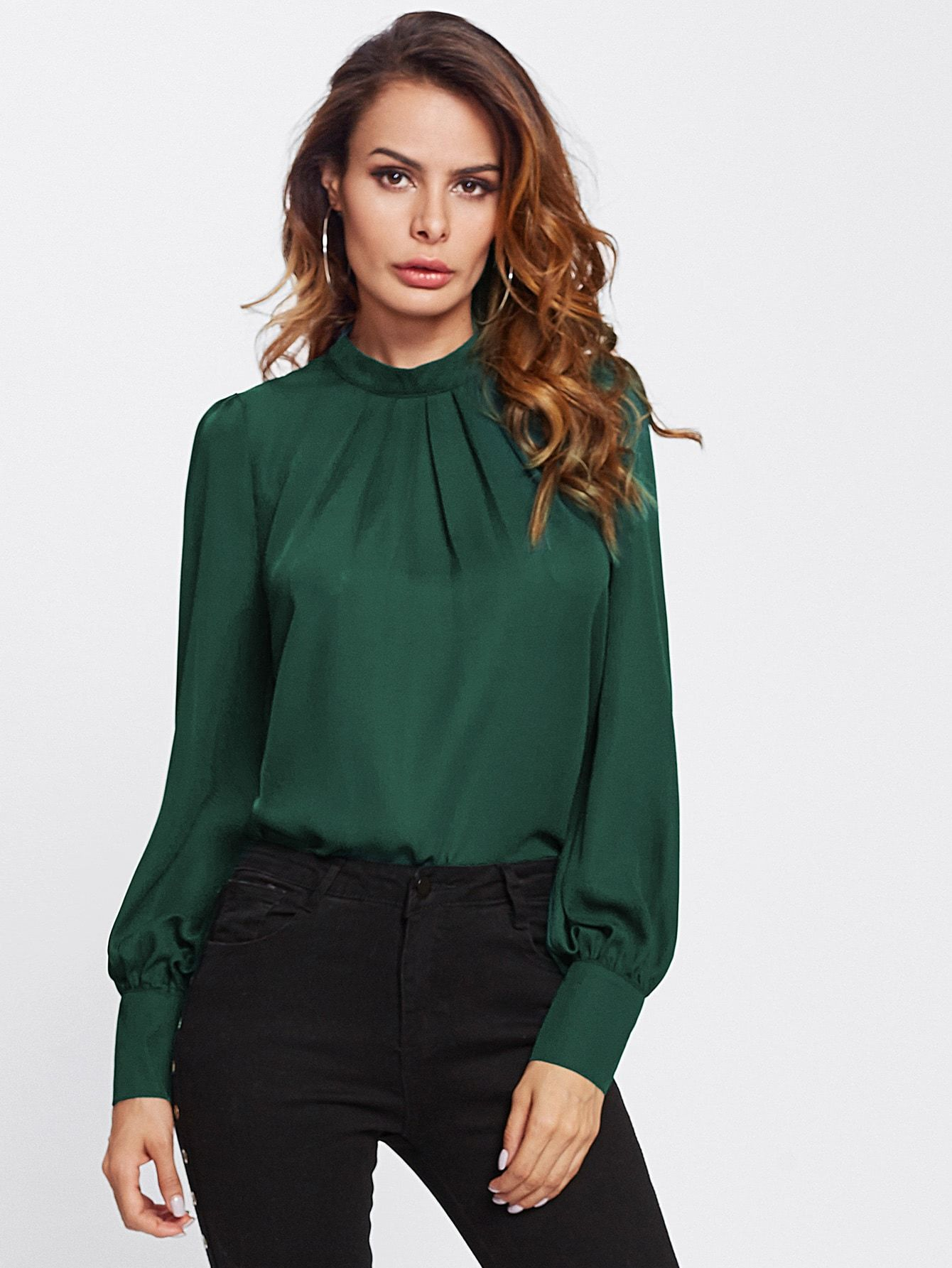 Stand Collar Pleated Blouse - LoveSylvester