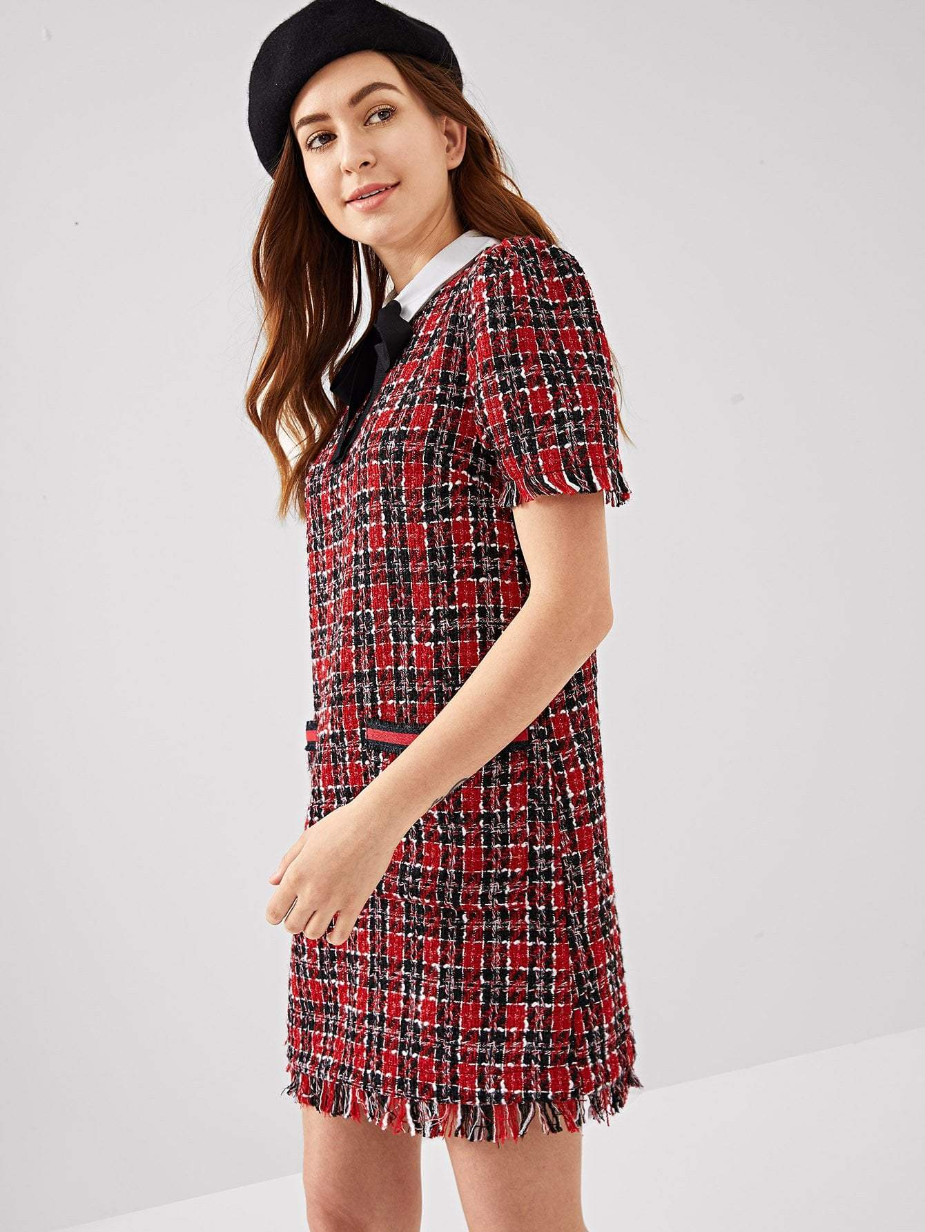 Tie Neck Tweed Dress - LoveSylvester