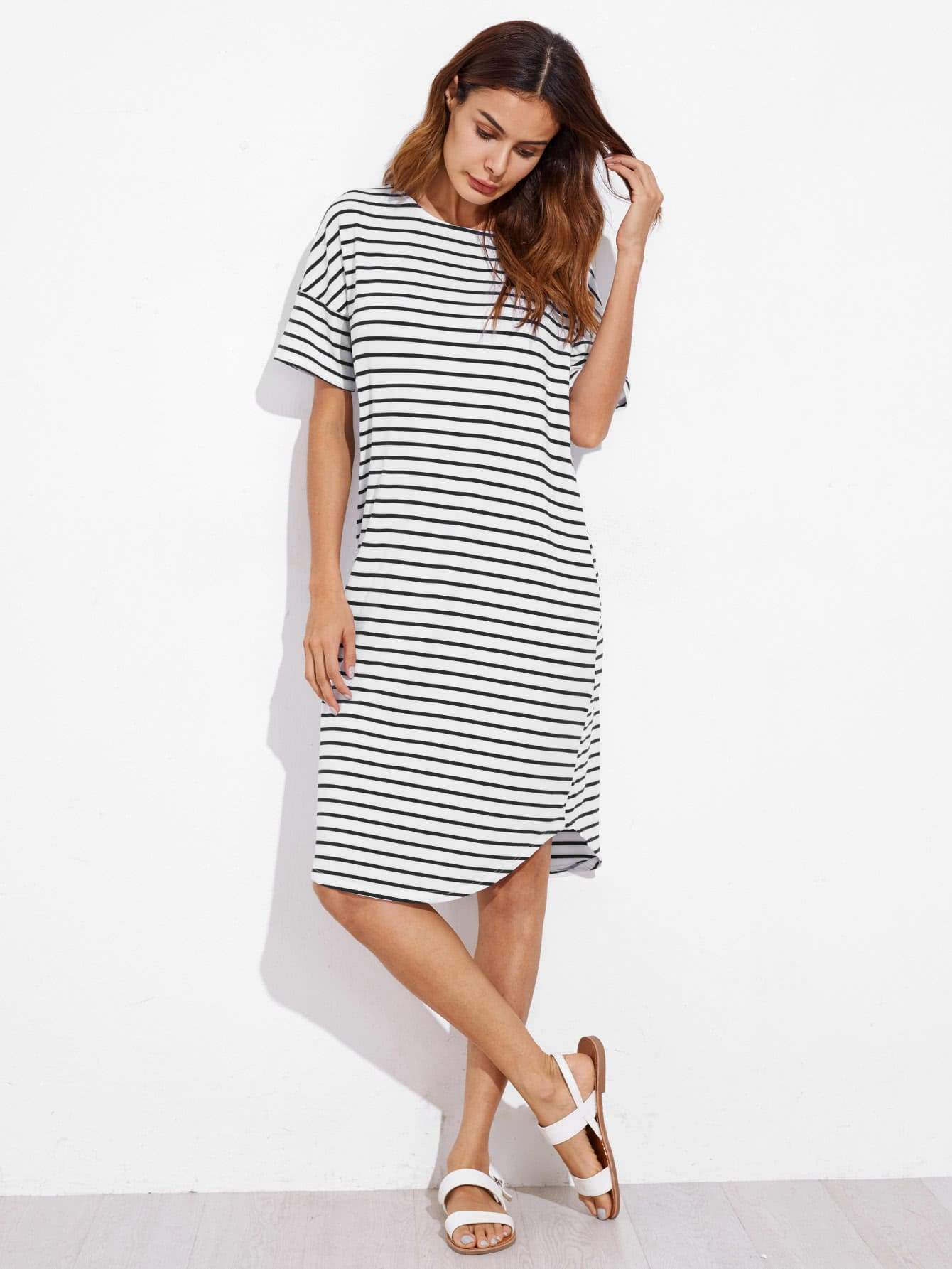 Curved Striped Tee Dress - LoveSylvester