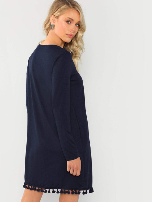 Navy Tassel Dress - LoveSylvester