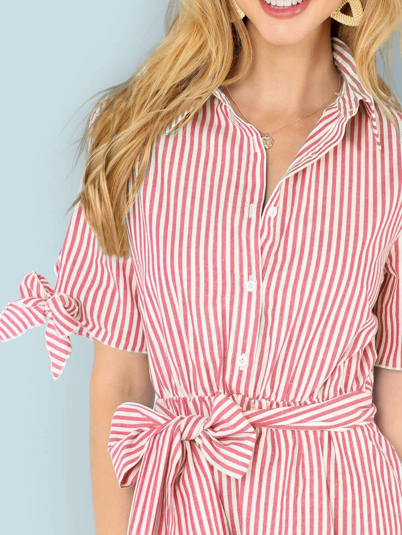 Buttoned Collar Striped Dress - LoveSylvester