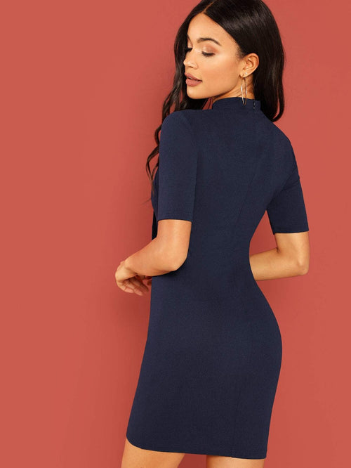 Navy Striped Pencil Dress - LoveSylvester