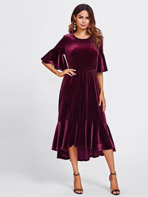 Flounce Hem Velvet Dress - LoveSylvester
