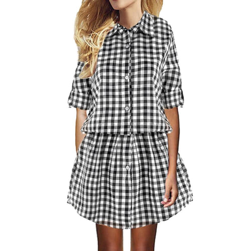 Dress - Checkered Casual Shirt Dress