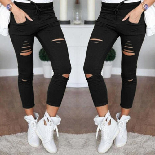 Jeans - 3/4 Ripped Skinny Jeans