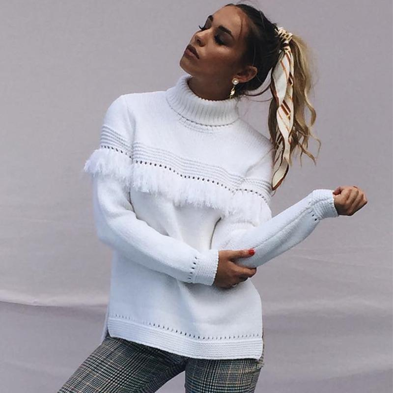 Women - Apparel - Sweaters - Pull Over - Fringe White Collared Sweater