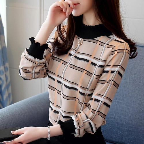 Plaid L/S Blouse