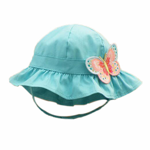 c36bba46229 Summer Baby Girl Caps Cotton Sun Hat For 2-3 Years Baby Blue