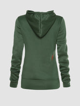 Drawstring Slit Pocket Plain Fleece Lined Hoodie