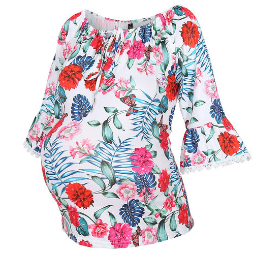 White Tropical Print Off Shoulder Maternity Top