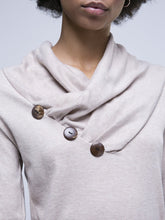 Cowl Neck  Decorative Button  Plain Sweatshirt