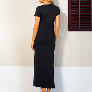 Maternity Solid Black Side Slit Full Length Dress