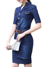 Absorbing With Button Band Collar With Belt  Bodycon-Dress