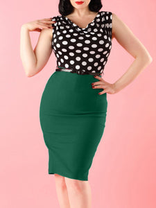 Cowl Neck Slit Polka Dot Bodycon Dress