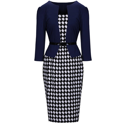Women Office Plaid Belt Bodycon Dress