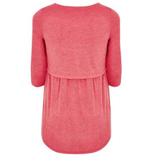 Maternity Coral Layered Tunic Top With Nursing Function