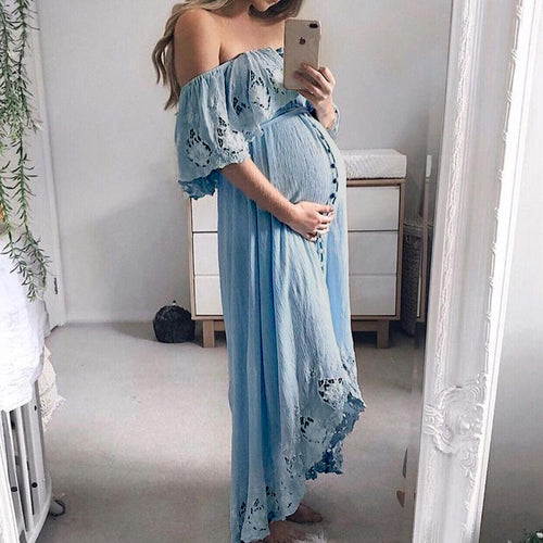 Maternity Casual Lace Off Shoulder Dress