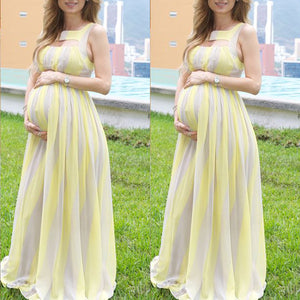Maternity Sleeveless Stripe Maxi Dress