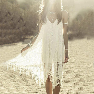 Spaghetti Strap  Asymmetric Hem Fringe  Plain Shift Dress