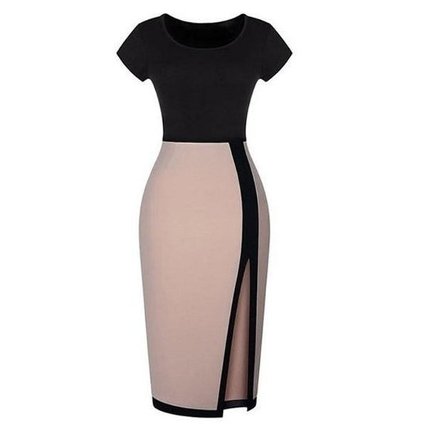 Alluring Slit Round Neck Bodycon-Dress
