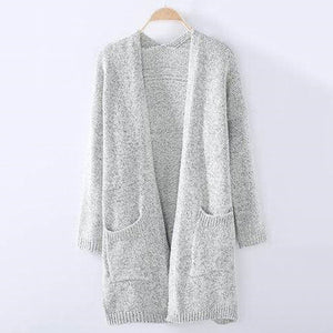 Solid Grey Long Length Cardigan With Pocket
