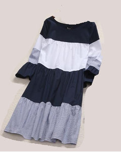 Stripes Color Block Trumpet Sleeve Women Dress